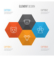 zoo icons set collection of claw print marsupial vector image