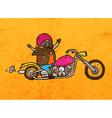 Bikie on a Motorbike Cartoon vector image
