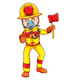 A fireman wearing a yellow uniform vector image vector image