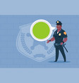 african american policeman with chat bubble vector image vector image