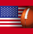 american football rugby on america flag design vector image