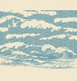 banner with hand-drawn sea waves in retro style vector image vector image