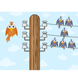 Birds on telegraph cable vector | Price: 1 Credit (USD $1)