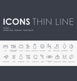 boxing thin line icons vector image