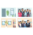business people and offices set vector image vector image