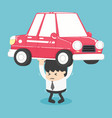 businessman carry a heavy car vector image