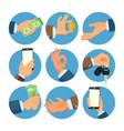 businessman hands set salesman worker vector image