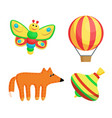 butterfly and balloon toys set vector image