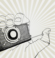 camera in hand vector image vector image