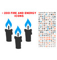 candles icon with bonus energy clipart vector image vector image