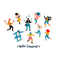 carnival funny dancing men vector image