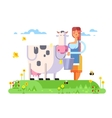 Cartoon character cow and milkmaid vector image vector image