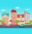 cartoon cute street a colorful city vector image vector image