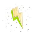 cartoon green an yellow lightning icon vector image vector image