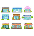 cartoon shops barber shop bookstore and pharmacy vector image vector image
