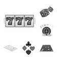 casino and equipment monochrome icons in set vector image