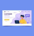 customer service landing page man with headphones vector image vector image