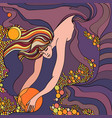 decorative background girl bathing in the sea vector image