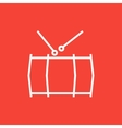 Drum with sticks line icon vector image vector image