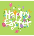 easter spring inscription with hare flowers vector image