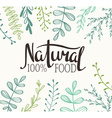 Eco Card with plants and lettering Natural food vector image vector image