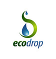 eco drop abstract water drop logo concept design vector image vector image