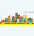edmonton skyline with color buildings and blue sky vector image vector image