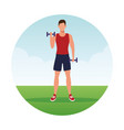 fitness man doing exercise vector image vector image