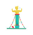 flat icon of high striker attraction with vector image vector image