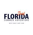 florida surfing emblem or logo vector image vector image