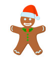 gingerbread man xmas isolated icon cartoon style vector image vector image