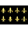 Golden fleur de lis set black background vector image
