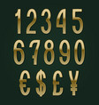golden numbers with currency signs slim symbols vector image vector image