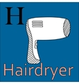 H letter alphabet Coloring book hairdryer vector image vector image