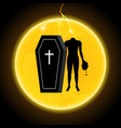 halloween coffin moon thunderbolt headless zombie vector image vector image