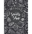 hand drawn contoured sweets on chalkboard vector image