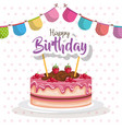 happy birthday cake with garland celebration card vector image vector image