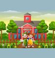 happy school children standing in front of school vector image vector image