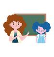happy teachers day cartoon teacher student girl vector image vector image