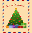 holiday greeting card with christmas tree flat vector image vector image