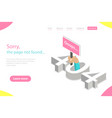 isometric flat landing page tempate 404 vector image vector image