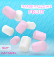 marshmallow white and pink on isolated vector image vector image