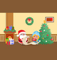 merry christmas santa claus and snow maiden home vector image vector image
