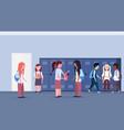 mix race schoolchildren group standing in school vector image
