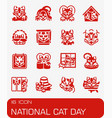 national cat day icon set vector image