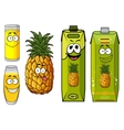 Pineapple juice packs fruit and glasses vector image
