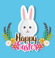 rabbit and flowers easter celebration poster vector image