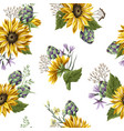 seamless pattern with sunflowers artichokes and vector image vector image