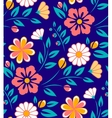 Seamless spring flower pattern on blue background vector image vector image