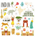 set famous symbols landmarks animals india vector image
